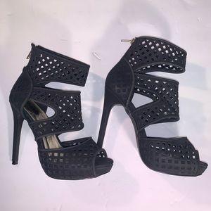 Charlotte Russe Trista 7 Caged Black Heels Sz 8
